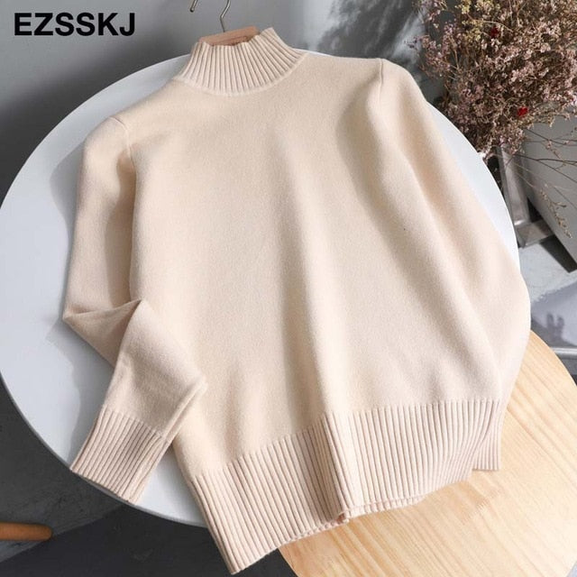 Korean Style Loose Sweater Women Pullover Casual Half Turtleneck Long Sleeve Knit Sweater