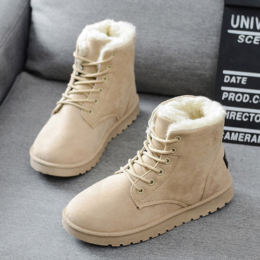 Women Snow New Mid-Calf Cotton Warm Fur Winter Boots Lace Up