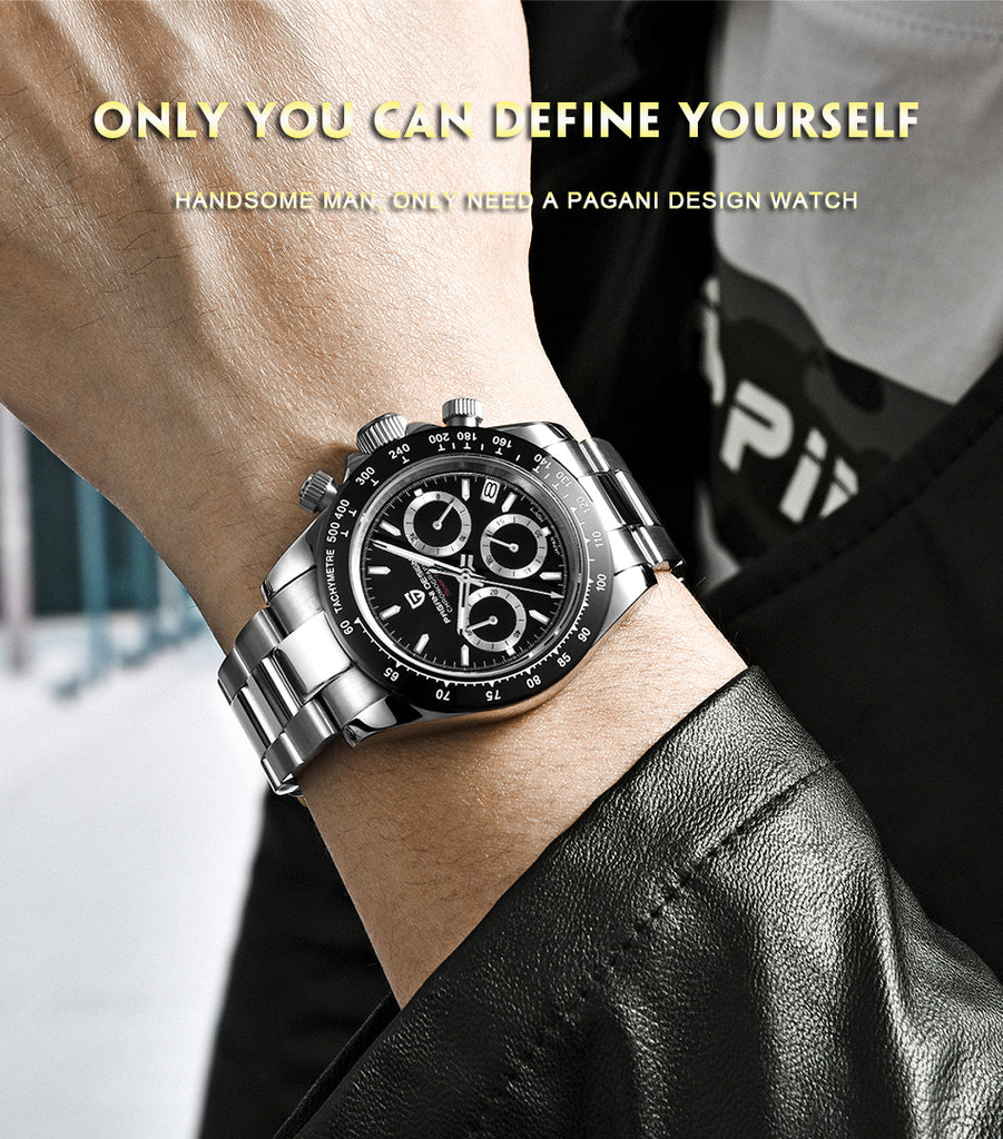 Mens Watches Top Brand Luxury WristWatch Quartz Clock black