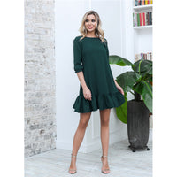Women Casual Ruffles Loose Mini Dress Ladies Sweet Half Sleeve O Neck Solid Dress Best Selling