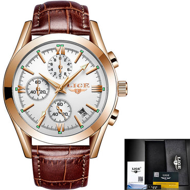 Fashion Men Watch Leather Analog Quartz Waterproof Sport Chronograph Watches
