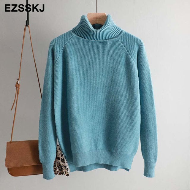 New casual thick Autumn Winter turtleneck oversize Sweater