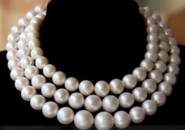 "Gorgeous AAA13-16mm south sea round white pearl necklace 38""14k"