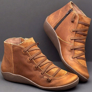 WomenLeather Ankle Boots Autumn Winter Cross Strappy Vintage Punk Boots