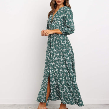 Floral Printed V-neck Single-breasted High Waist Chiffon Long Dress