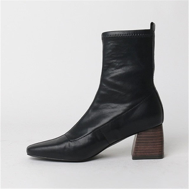 Women Ankle boots autumn and winter high-heeled elastic boots