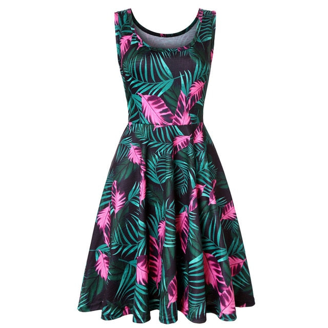Best Selling New Ladies Dress Women'S Sleeveless Leaf Print Sundress Summer