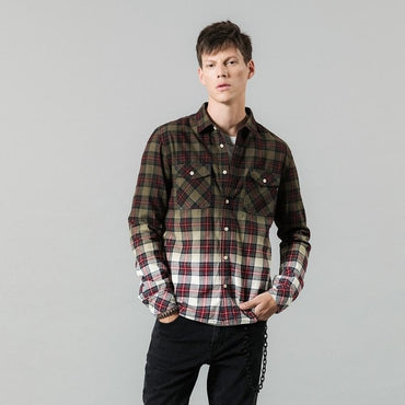 tie-dyed plaid contrast color fashion slim fit cotton shirt