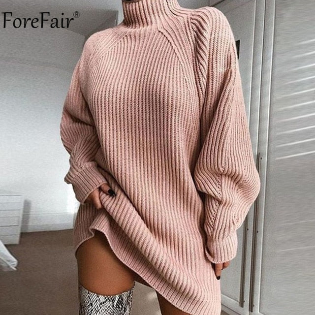 Turtleneck Long Sleeve Sweater Dress Autumn Winter Loose Tunic Knitted