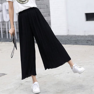 New Summer Spring New Fashion Tide Black Casual Loose Elastic Waist High