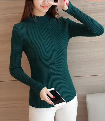 Sale winter women ladies long sleeve turtleneck slim fitting knitted thin sweater