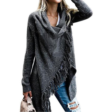 Women Sweater Long Section Slim Fashion Tassel