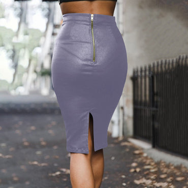 Women faux leather PU high waist slim sexy package hip skirt