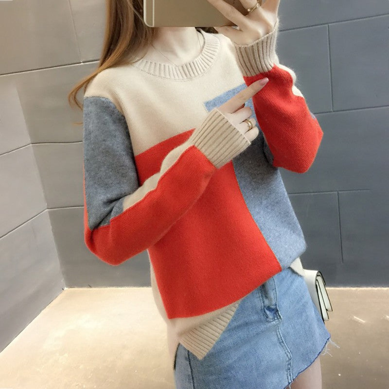 Women Sweater Autumn Contrast Color Long Sleeve Knitted Sweater