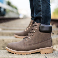 New lace-up warm snow boots Winter Pu Leather Ankle Boots Men
