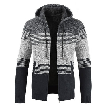 Streetwear Casual Zipper Winter Warm Long Sleeve Striped Men's Hoodies