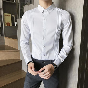 Luxury Solid Color Long Sleeve Party Mens Dress Shirts