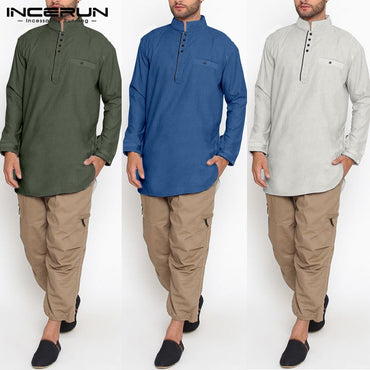Collar Long Sleeve Button Solid Cotton Long Shirts