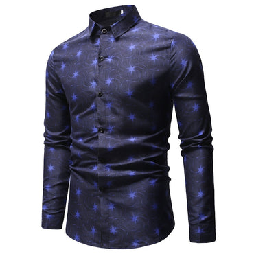 Slim Fit Flower Print Shirt Long Sleeve Shirts