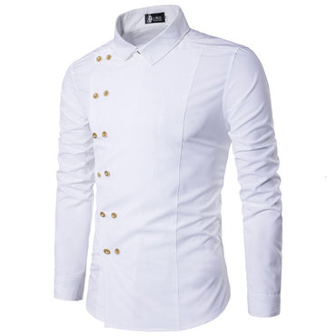 New Arrival Long Sleeve Slim Fit Double Breasted Male Shirt