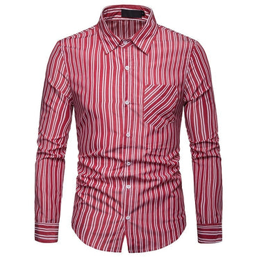 New Arrival Men Shirt Casual Long Sleeve Shirts Twill Striped Formal Business Shirts