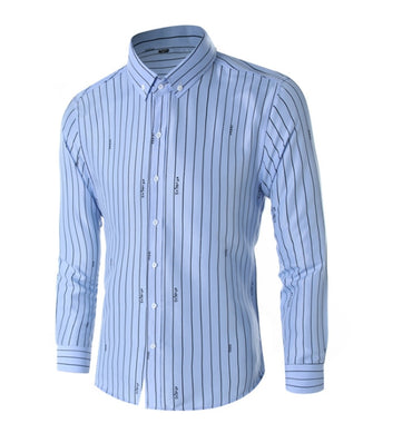 Denim Long-sleeved Shirt Casual Business Striped Shirt