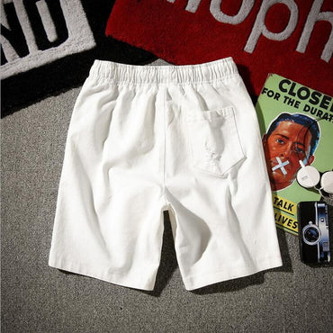 Cotton Solid Straight Hole Jeans Shorts