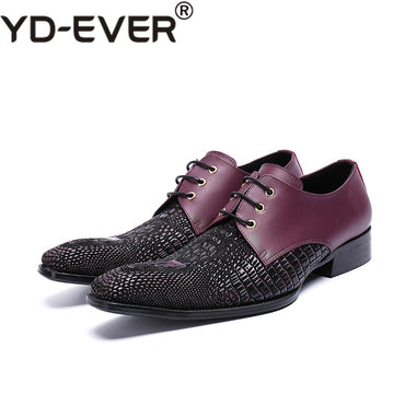 Red Crocodile Square Toe Lace Up Business Men Shoes