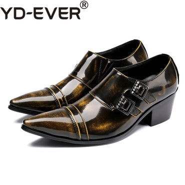 hidden high heel shoes for men genuine leather double strap elegant shoes