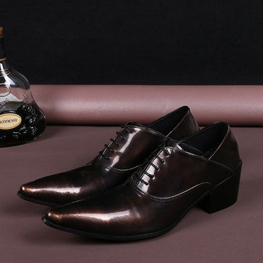high heels leather brown pointed toe dress shoes