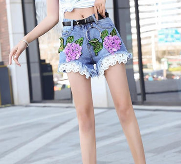 New summer denim shorts embroidery women wide leg sequined jeans shorts
