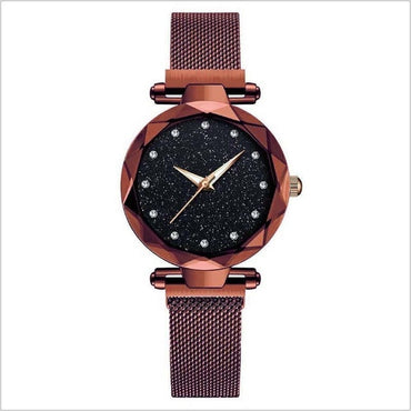 Top Brand Star Watch For Women Rose Gold Mesh Magnet Starry Sky Quartz Wristwatch