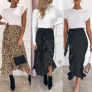 Women Long Sleeve Leopard Print Boho Long Maxi Dress Lady Casual Skirt High Waist