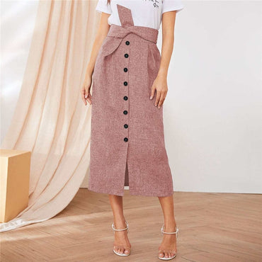 Button Front Pleat Detail Belted Skirts t