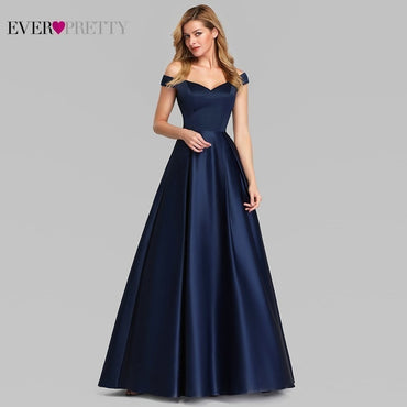 Navy Blue Elegant Women Long Prom Dress Satin A-LIne V-Neck