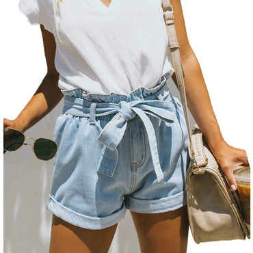 Vintage High Waist Harem Ruffle Short Jeans Summer Women