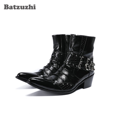 Ankle Pointed Toe Black Genuine Leather Boots
