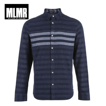 cotton stripe pattern long-sleeved shirt
