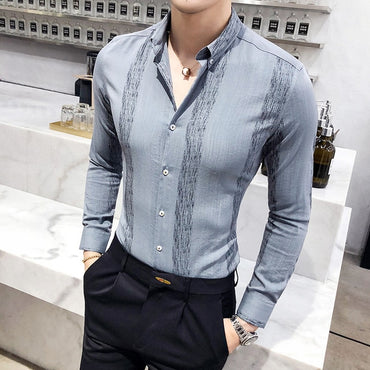 Long Sleeve Stripe Shirt Slim Fit Business Affairs Dress Shirt