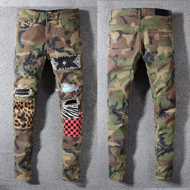 Distressed Destroyed Art Patches Stretch hollow out Pant