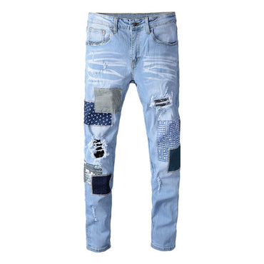 patchwork ripped jeans Light blue holes stretch denim pants