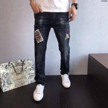 Runway Luxury famous Brand  Design party style Jeans