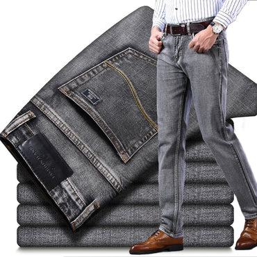 Business Casual Classic Style Fashion Denim Trousers Male Black Blue Gray Pants