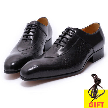 Genuine Leather Crocodile Print Pointed Toe Formal Oxford Shoe