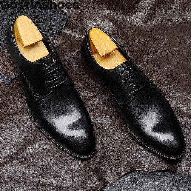 Cow Leather Lace-up Pointed Toe Dress Formal Business Shoes