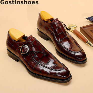 Black Brown Genuine Leather Crocodile Skin Printed Men Dress Shoes