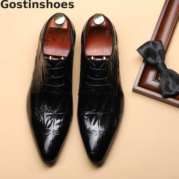 Oxfords Lace-up Pointed Toe Fashion Men Dress Shoes