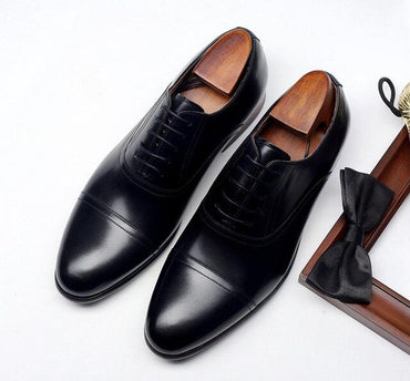 Black Brown Color Capped Toe Leather Shoes