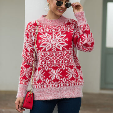 Mohair Oversized Knitted Sweater Women Snowflake Casual Warm
