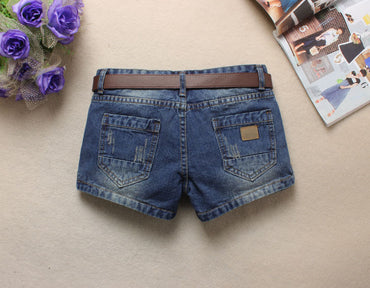 Womens Middle Waist Hole Denim Shorts